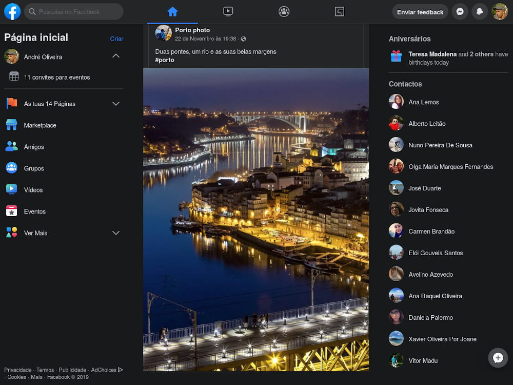 Sobre Facebook disponibiliza novo design com dark mode